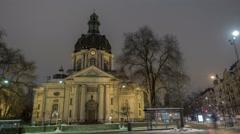 Gustaf Vasa Church Stockholm hyper-lapse - stock footage