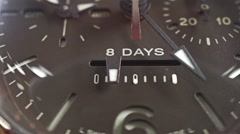 Stock Video Footage of Macro dolly shot of power reserve indicator of the wrist watch