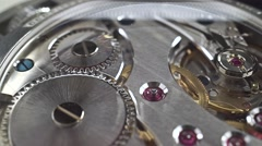 Close up dolly shot of precise watch movement - stock footage