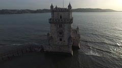 Aerial view of Belem Tower, Lisbon, Portugal Stock Footage