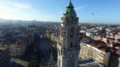 Aerial View of City hall and city square in Porto, Portugal Stock Footage