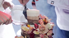 The couple cut the wedding cake tiers Rustic Stock Footage