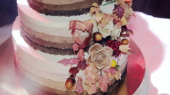 Tiered wedding cake with Rustic Stock Footage