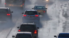Los Angeles El Nino Freeway Rain with Zoom Stock Footage