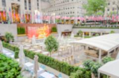 Defocused background of Rockefeller Center in New York City Stock Photos
