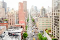 Defocused background with aerial view of 1st Avenue, NYC Stock Photos