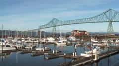 Stock Video Footage of Astoria Oregon Bridge And Harbor