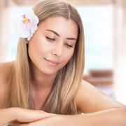 Gentle woman at spa - stock photo