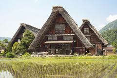 Gassho-style House with Steep Rafter Roof, Shirakawa, Gifu Prefecture, Japan - stock photo