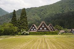 Gassho-style House with Steep Rafter Roof, Shirakawa, Gifu Prefecture, Japan Stock Photos