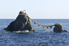 Meoto Iwa (Wedded rocks), Ise, Mie Prefecture, Japan Stock Photos