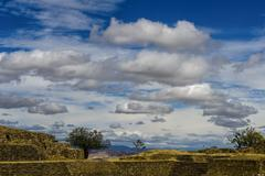 Cloudy Sky, Monte Alban Ruins, Monte Alban, Mexico Stock Photos