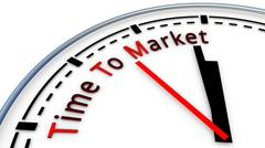 Time To Market clock concept Stock Illustration
