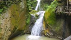 Grotto del Cagleron and waterfall in Italy Stock Footage