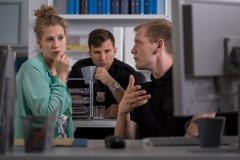 Interrogation of witness of crime - stock photo