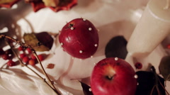 wedding decor with candles and apple autumn - stock footage
