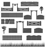 Set of black fences with gates - stock illustration