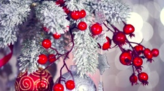 Christmas and New Year decoration over silver blurred holiday background - stock footage