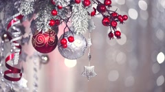 Christmas and New Year decoration over silver blurred holiday background Stock Footage