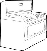 Generic Single Induction Stove Outline - stock illustration