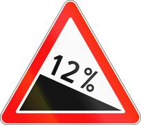 Road sign used in Russia - Steep descent Stock Illustration