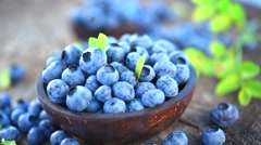 Blueberry. Fresh and ripe organic blueberries rotating Stock Footage