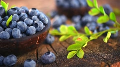 Blueberry. Fresh and ripe organic blueberries rotating - stock footage
