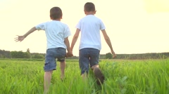 Two happy kids running on summer green field - stock footage