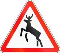 Road sign used in Russia - Deer crossing - stock illustration