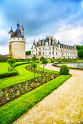 Chateau de Chenonceau royal medieval french castle and garden. Chenonceaux, L - stock photo