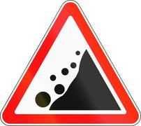 Road sign used in Russia - Falling rocks - stock illustration
