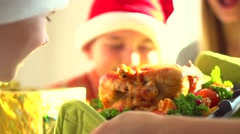 Traditional Christmas holiday dinner. Happy big family celebrating Christmas - stock footage