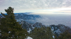 Wide Pan of Albuquerque From the Peak in Winter Stock Footage