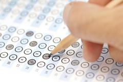 answer sheet test score with pencil - stock photo