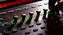 Musician man brings music mixer music studio remote Stock Footage