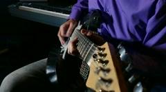 Man playing electric guitar recording studio Stock Footage
