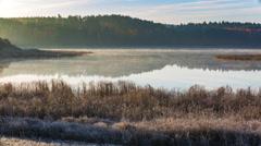Morning autumnal foggy lake. 4k timelapse Stock Footage