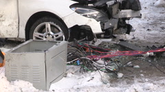 Car crash and accident scene with critical injuries in Toronto city intersection Stock Footage