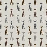 Cat vector art background design for fabric and decor. Seamless pattern - stock illustration