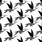 Hummingbird vector art background design for fabric and decor. Seamless patte - stock illustration
