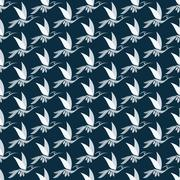Stock Illustration of Hummingbird vector art background design for fabric and decor. Seamless patte