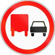 Road sign used in Russia - No overtaking by heavy goods vehicles - stock illustration