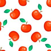 Red apple fruit seamless vector pattern Stock Illustration