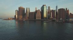 Blue sky and Manhattan skyline, New York, United States Stock Footage