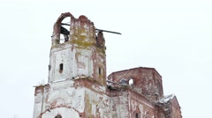 ruined church ruins of the castle on a white background - stock footage