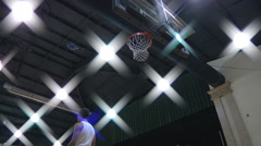 College Students Playing Basketball Indoors Stock Footage