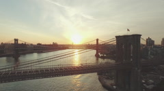 Aerial shot of Brooklyn Bridge, New York, New York, United States Stock Footage