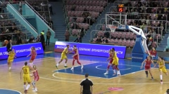 "Irls play basketball, team "" Nadezhda"" (Orenburg) and ""MBA"" (Moscow) Stock Footage"