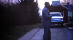 1967: African American man dressed in formal gray sports suit. CARMEL, INDIANA Stock Footage
