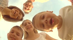 Happy big family with kids outdoors Stock Footage